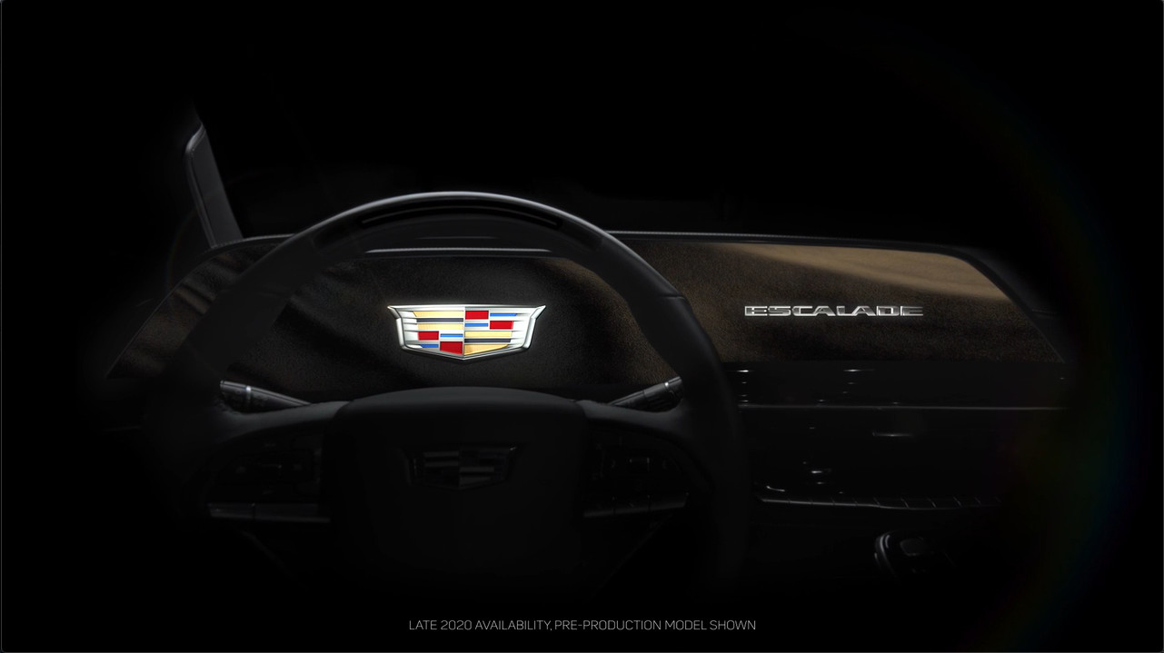 2021 cadillac escalade teased with curved oled screen  super cruise