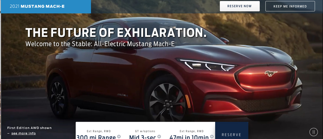 This is the 2021 Ford Mustang Mach-E with up to 300 miles of range, 0-60 in 3 seconds, $43,895 base price