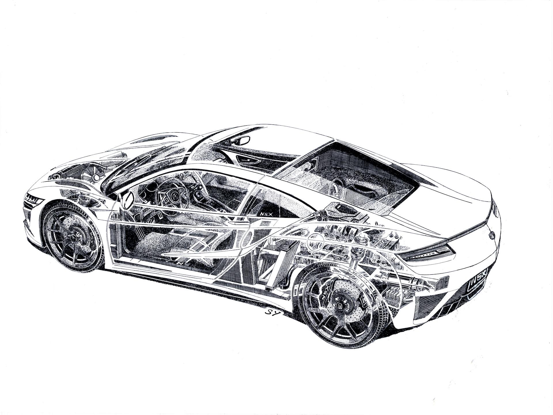 Cutaway Sketch Of Acura Nsx Shows Inner Workings