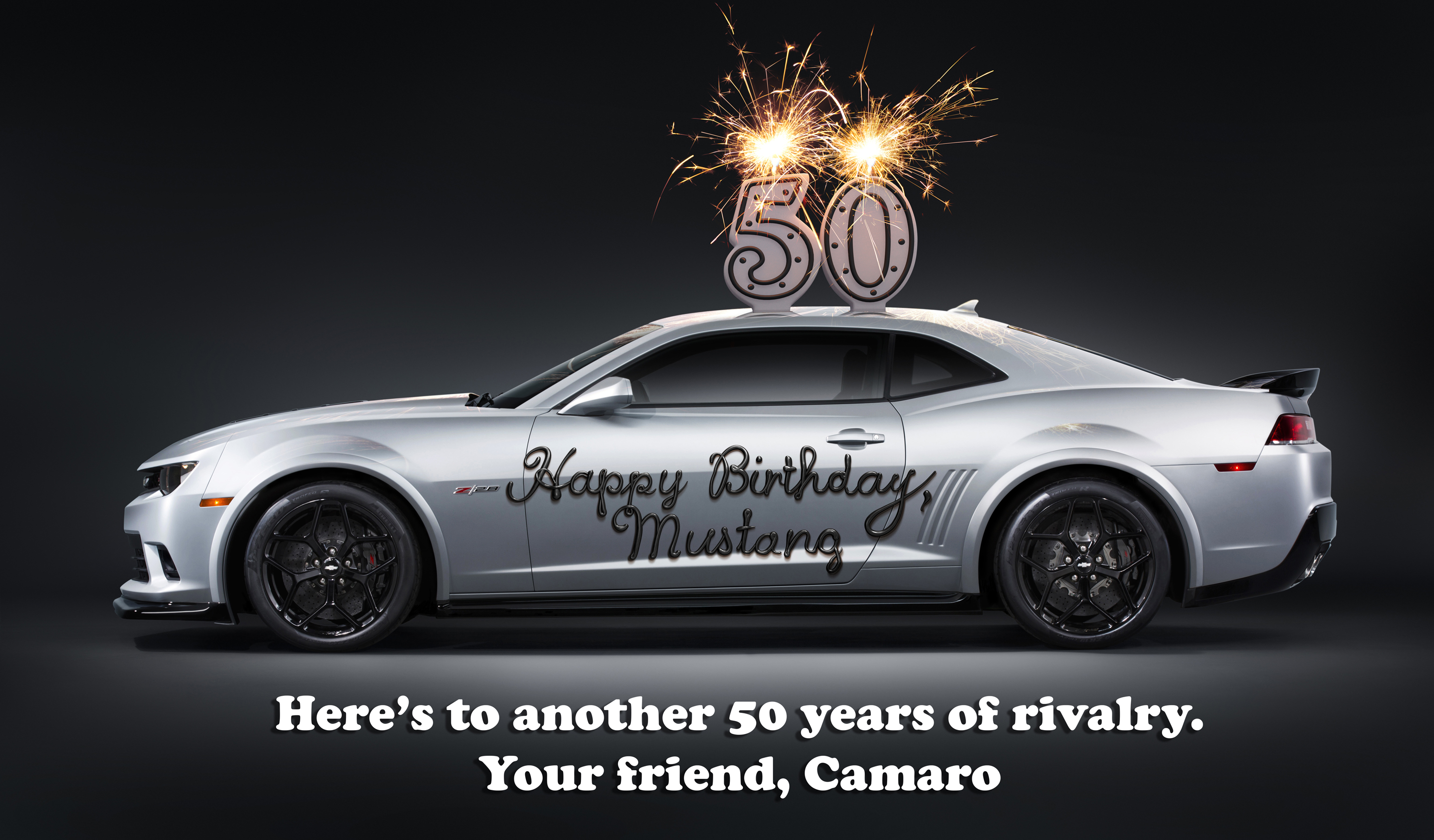 Rivalry Aside Chevy Camaro Wishes Ford Mustang A Happy 50th