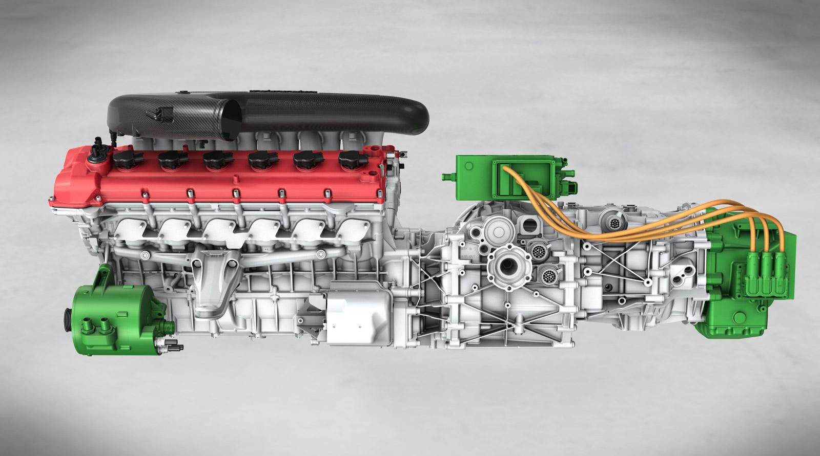 mid engine car diagram ferrari reveals latest hy-kers v-12 hybrid drivetrain
