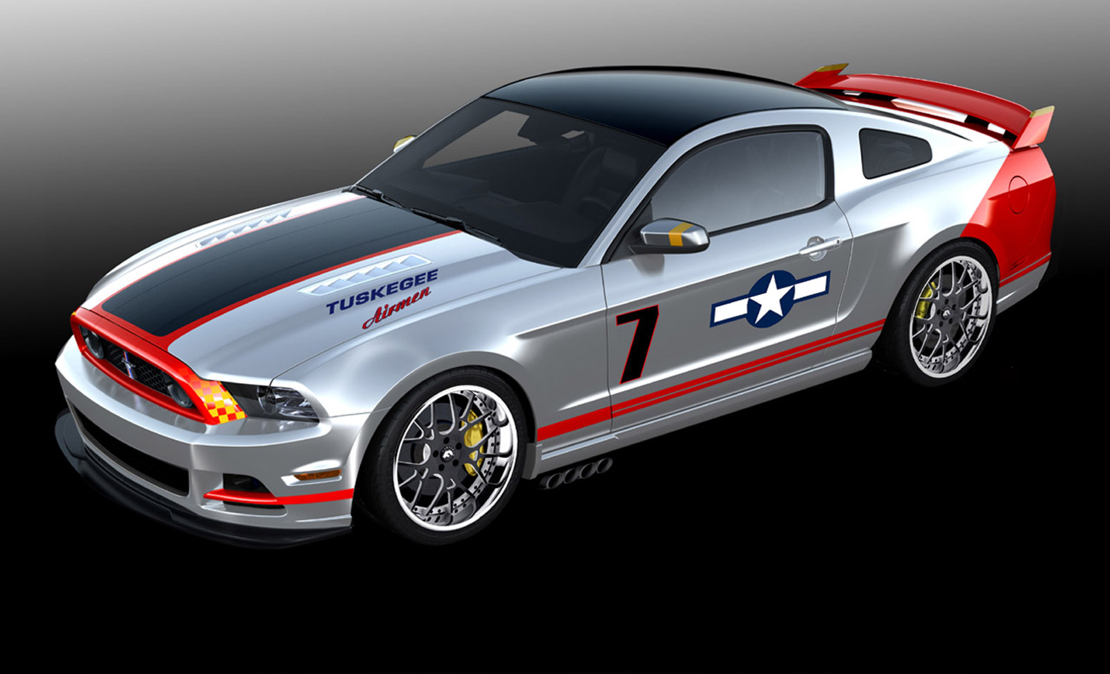ford previews custom red tails mustang for eaa airventure 2012. Black Bedroom Furniture Sets. Home Design Ideas