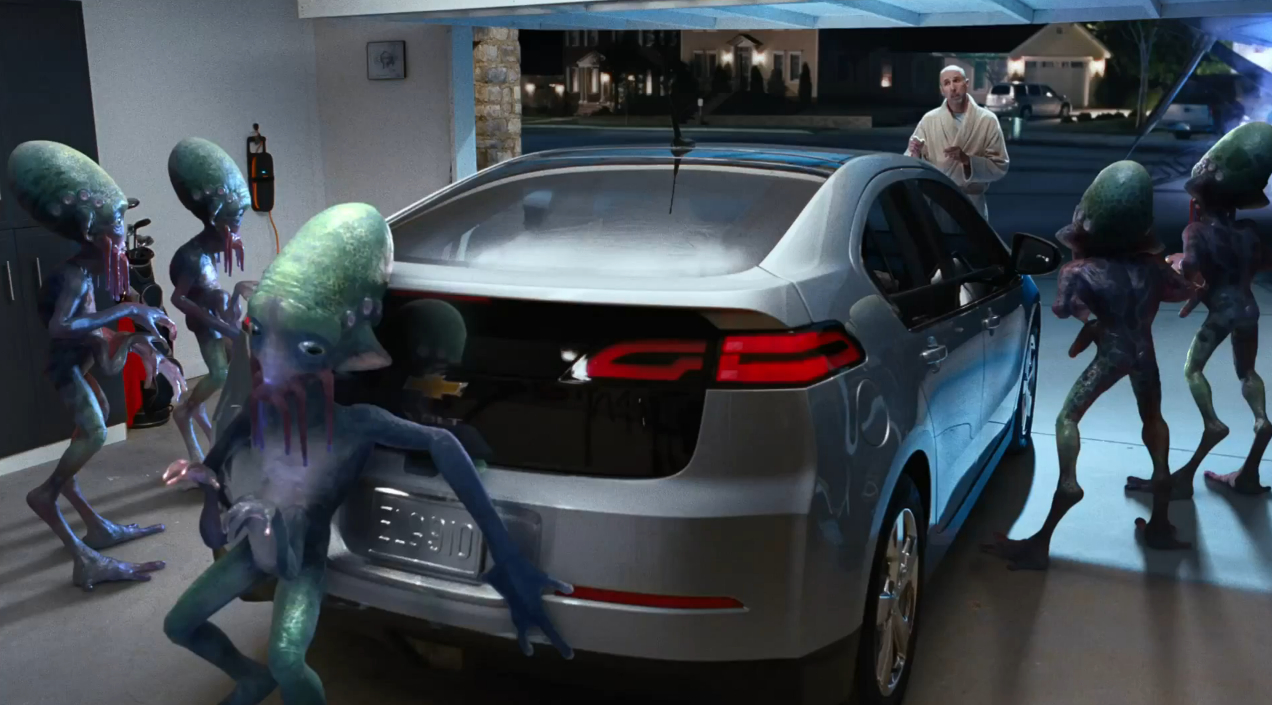 super bowl ads: chevrolet using aliens to pitch volt, silverado