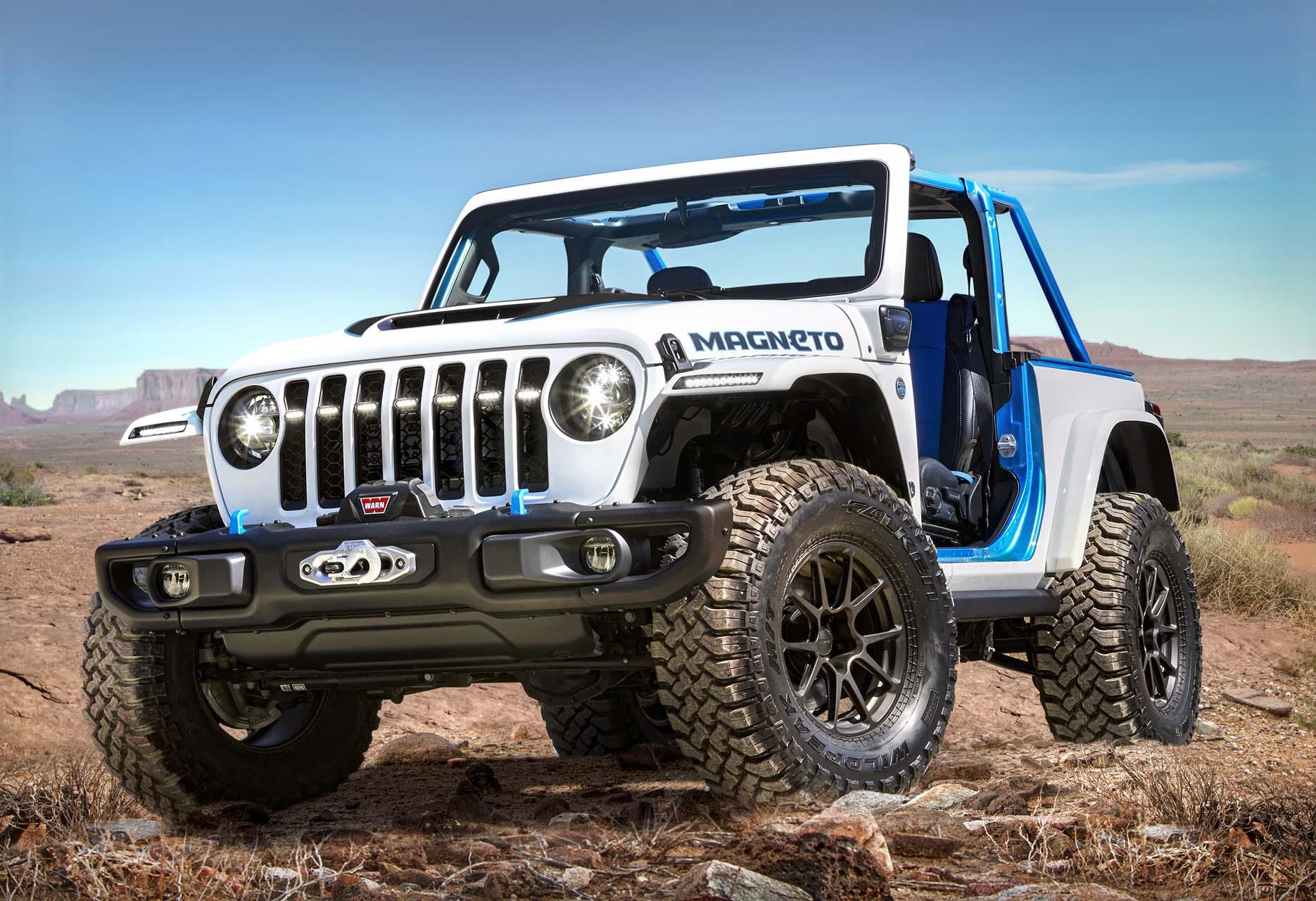 Electric Jeep Wrangler Magneto headlines 2021 Moab Easter Safari concepts