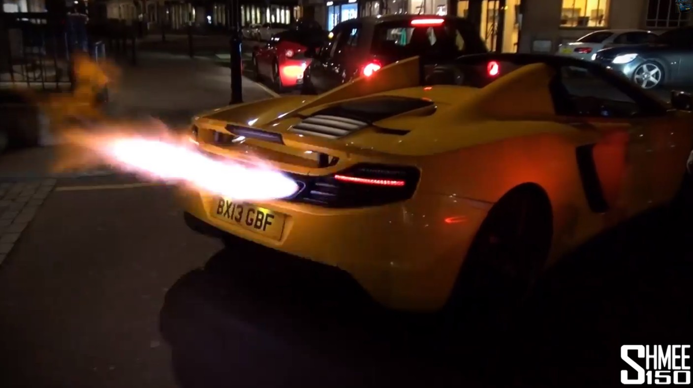 McLaren 12C flamethrower mode engaged