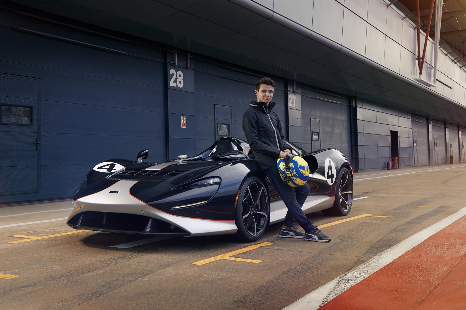 McLaren Formula One driver Lando Norris has fun in the Elva speedster