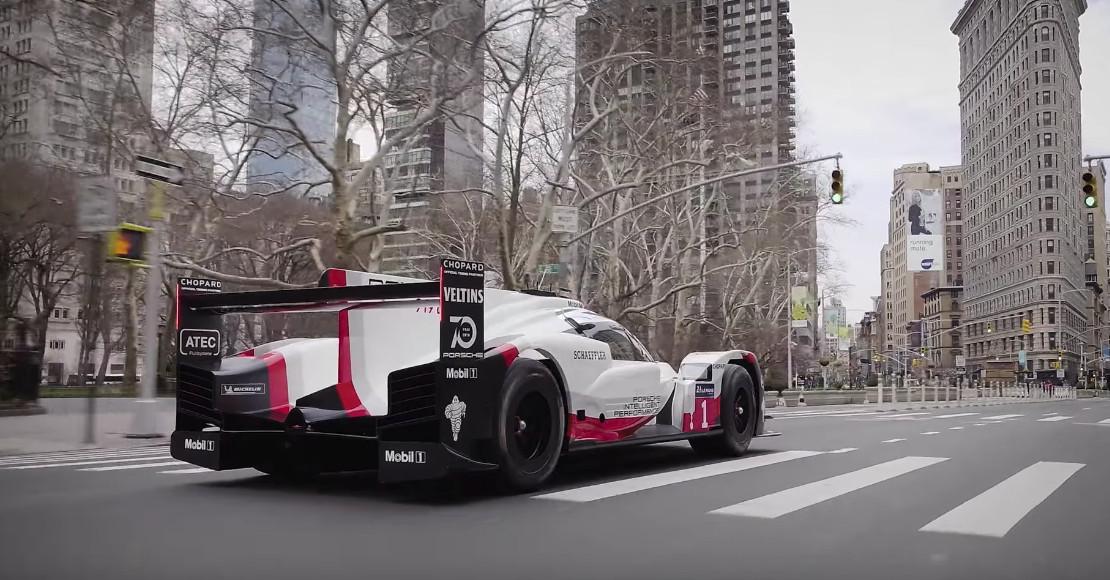 watch a porsche 919 race car cruise through new york city. Black Bedroom Furniture Sets. Home Design Ideas