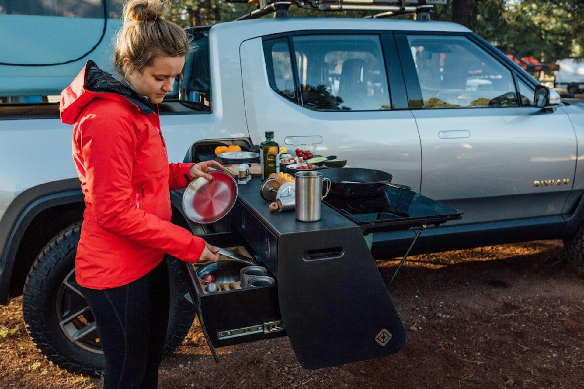 Rivian R1T will feature optional slide-out kitchen