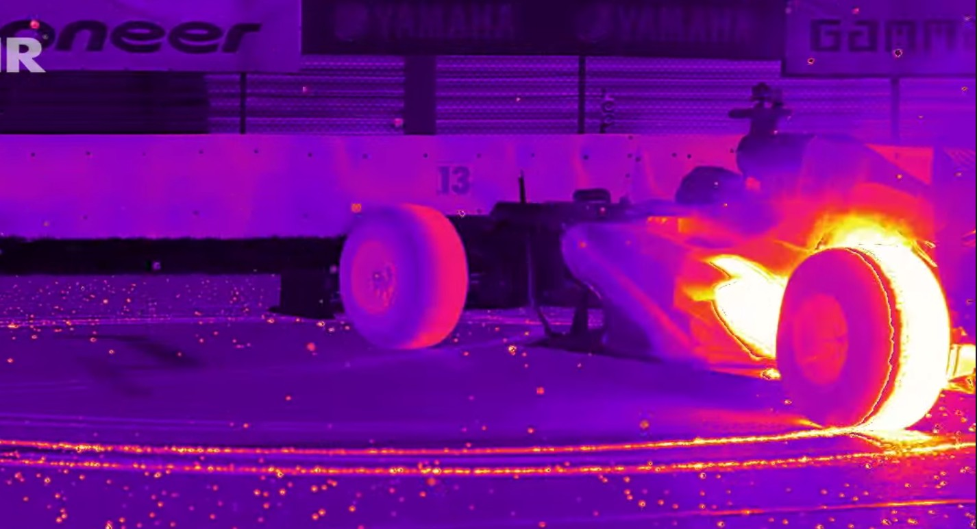 red bull  car  technicolor  tire melting infrared burnout video