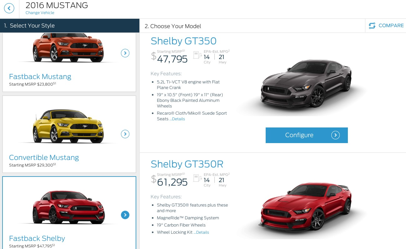 2016 ford mustang shelby gt350 pricing starts just under 50000