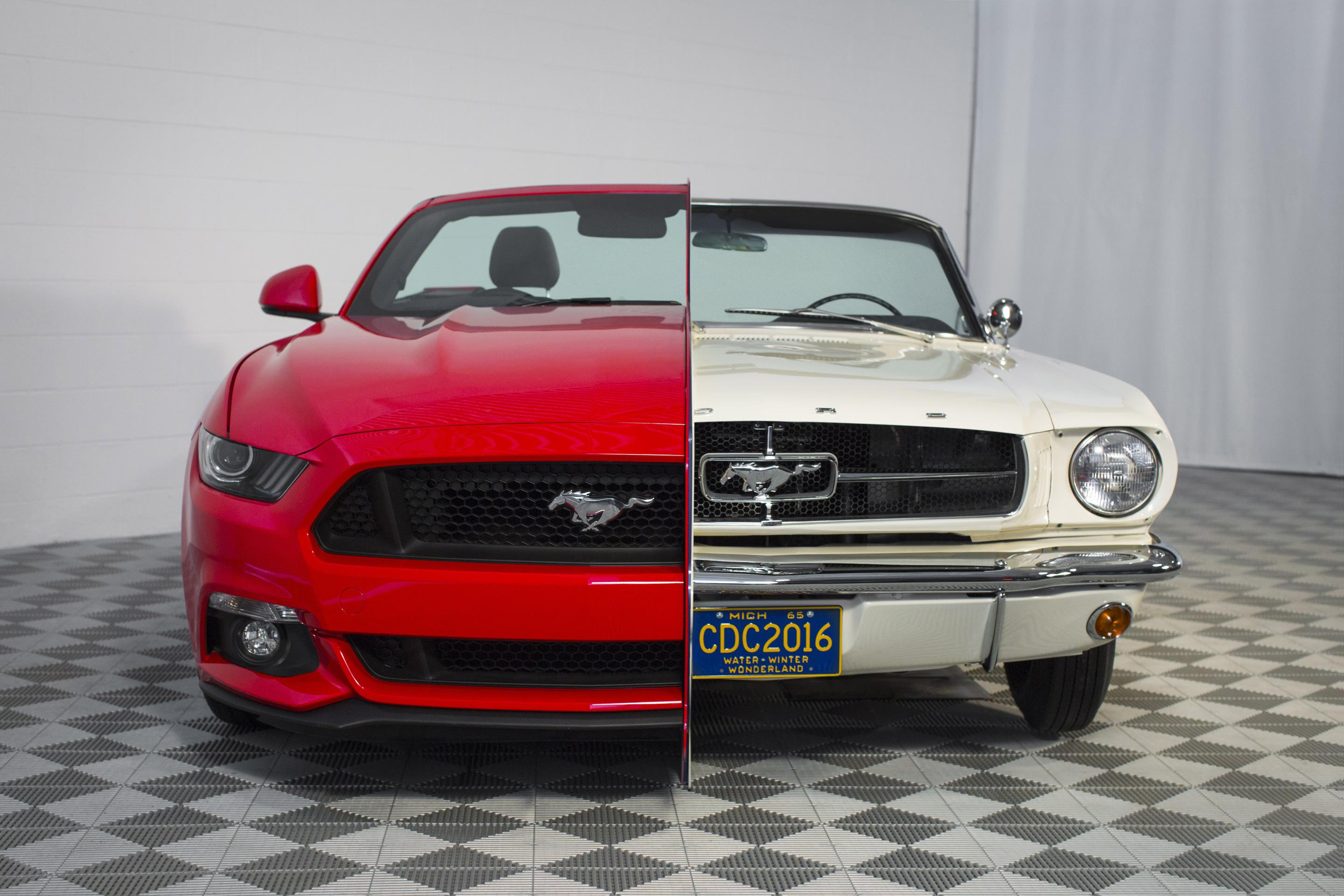 Ford creates side by side 1965 2015 mustang display