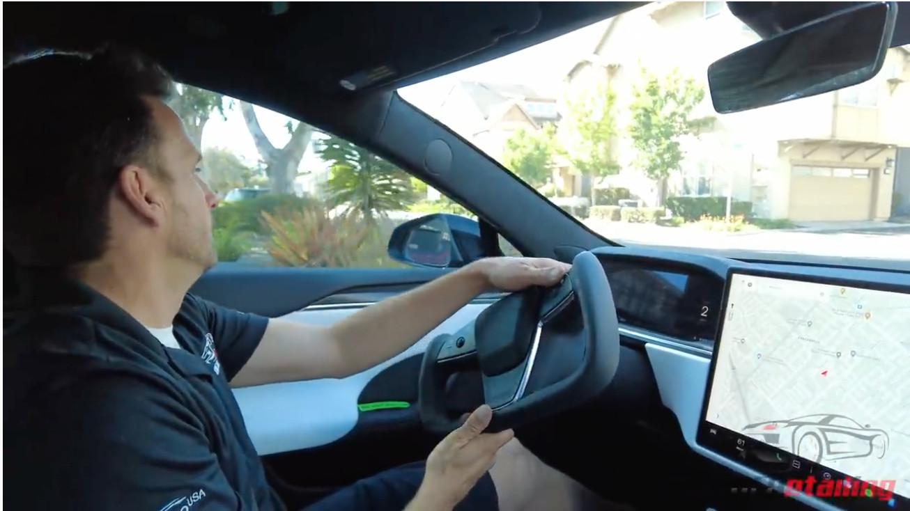 Awkward: Tesla Model S yoke is no joke