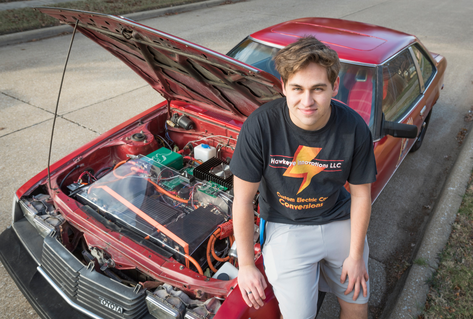 be42a6eda Youngster builds his own electric car from a 1980 Toyota Celica