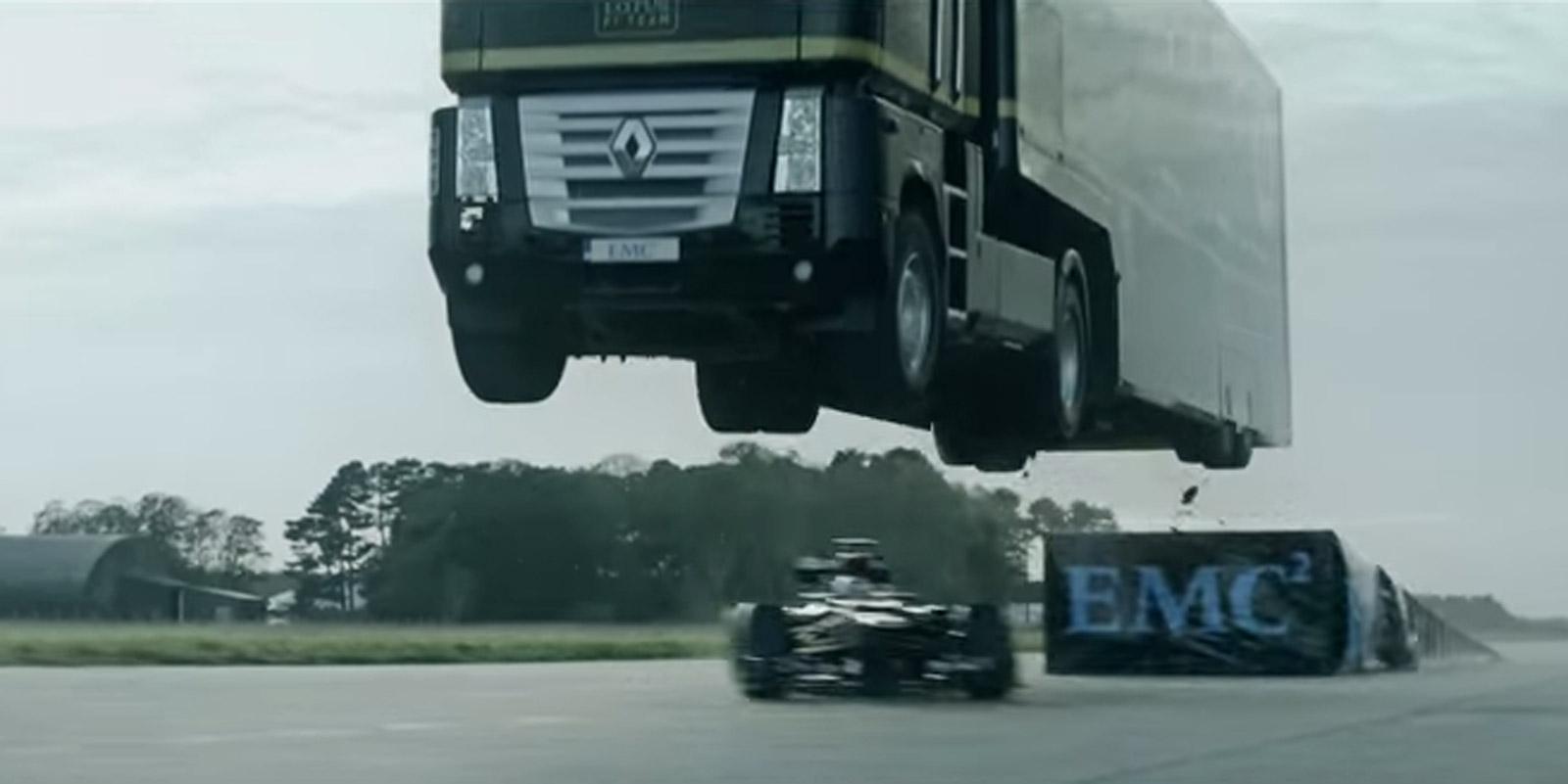 Watch A Big Rig Jump A Moving Formula One Car: Video