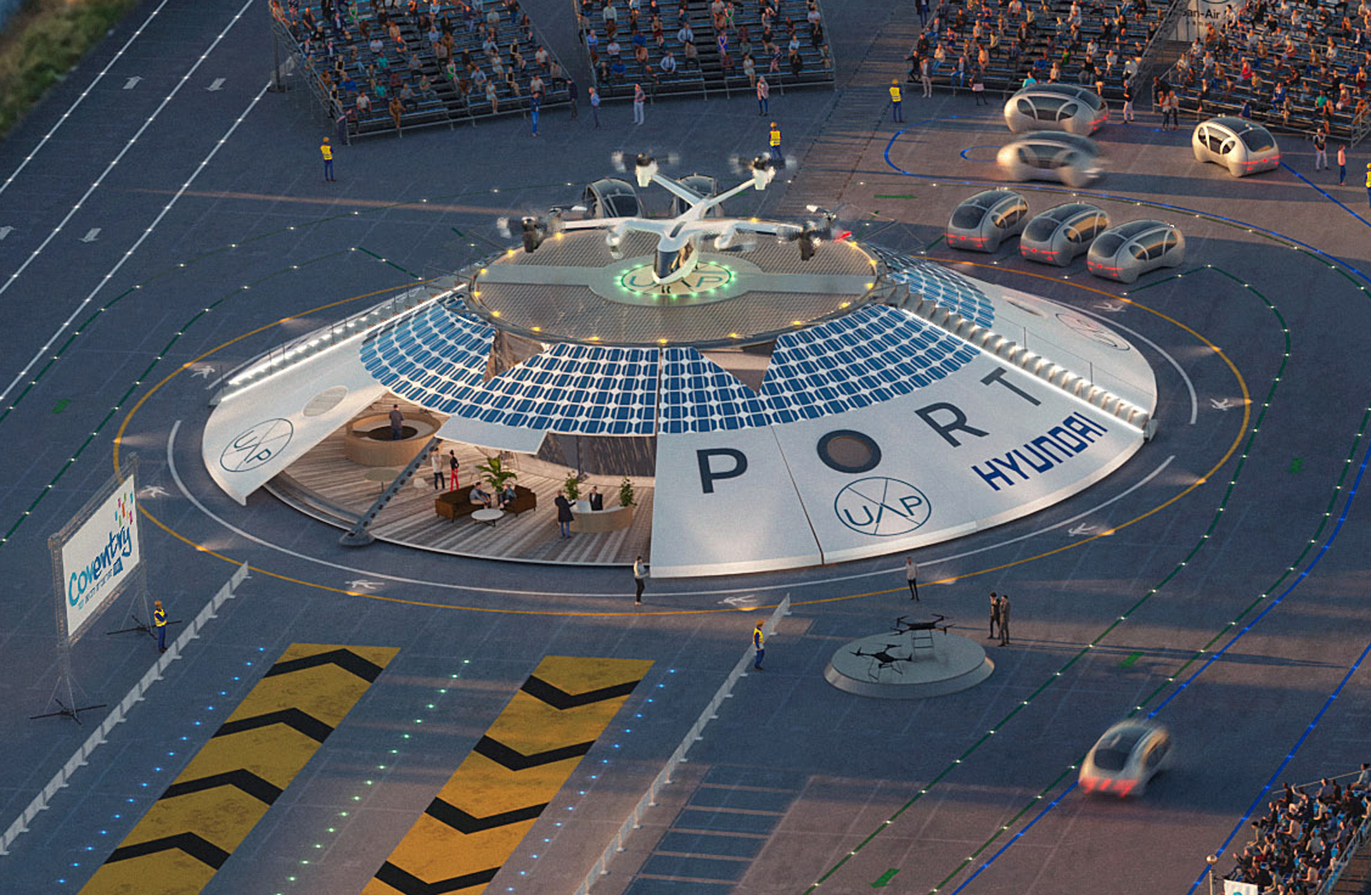 In the future, flying taxis could take off and land at urban airports much like this