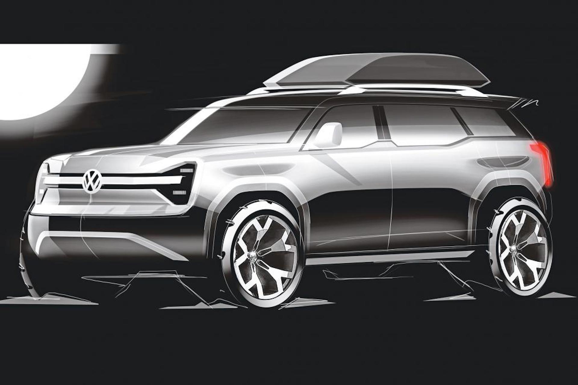 Electric Volkswagen off-road SUV on the table