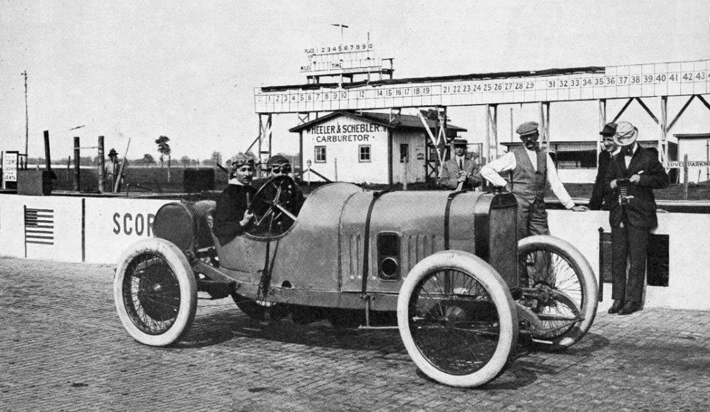 1913 Indy 500 winner Jules Goux and his riding mechanic on the bricks