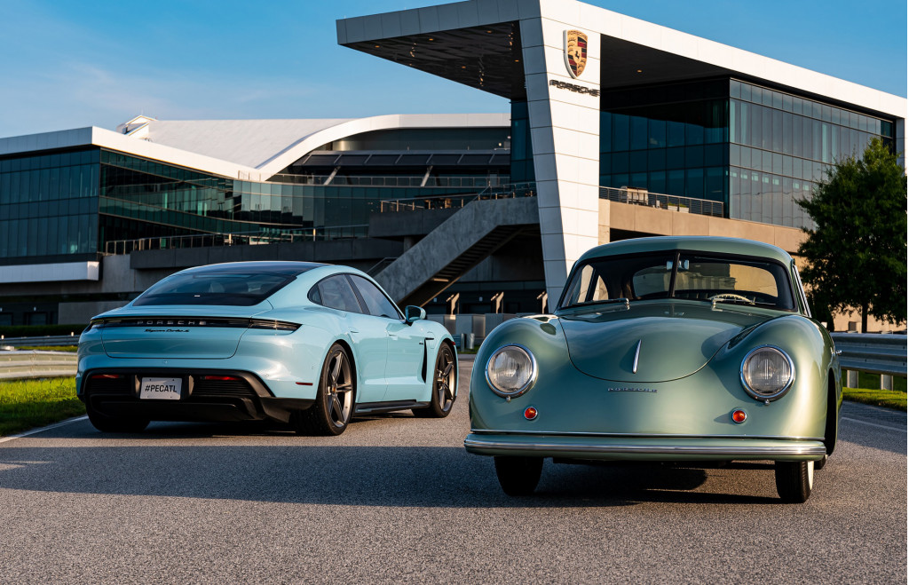 1950 Porsche 356 and 2020 Porsche Taycan Turbo S