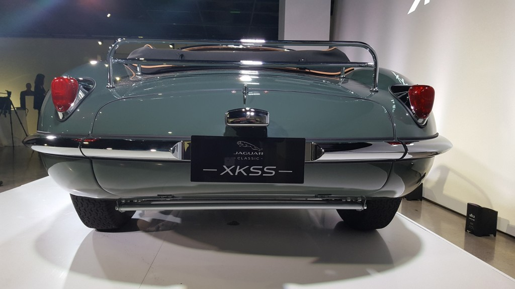 1957 Jaguar XKSS continuation model (note oil on floor below car)