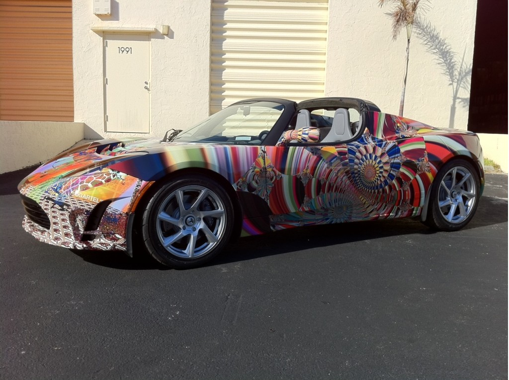 Artist Laurence Gartel's Tesla Roadster for Art Basel Miami 2010