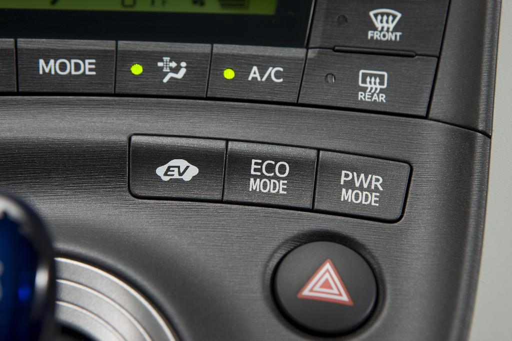 2010 Toyota Prius - EV, Eco, and Power mode buttons