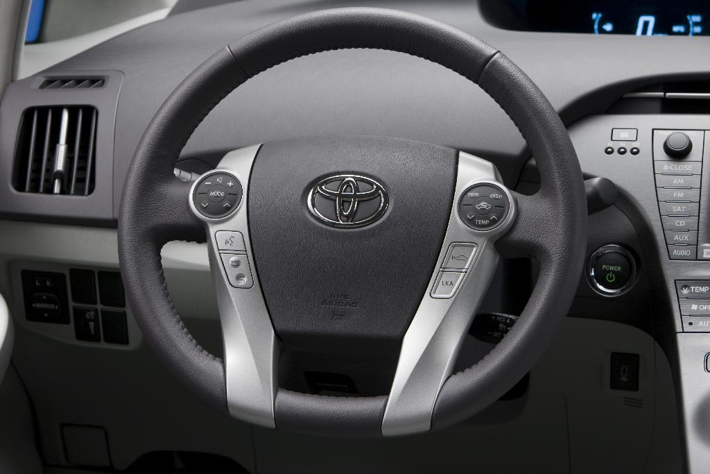 2010 Toyota Prius - showing round Touch Tracer controls that drivers operate with their thumbs