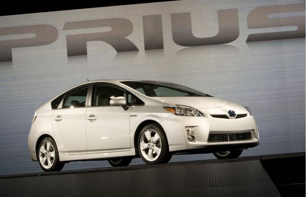 2010 Toyota Prius rolls onto the Detroit stage at its global debut in January 2009