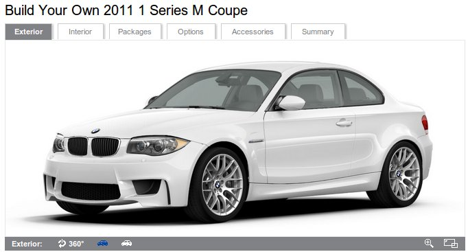 Build Your Own 2011 BMW 1 Series M Coupe: Configurator Live