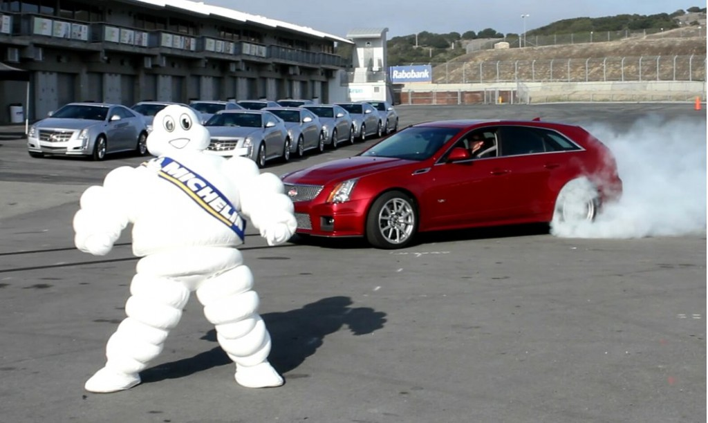 2011 Cadillac CTS-V Wagon burnout, Michelin man