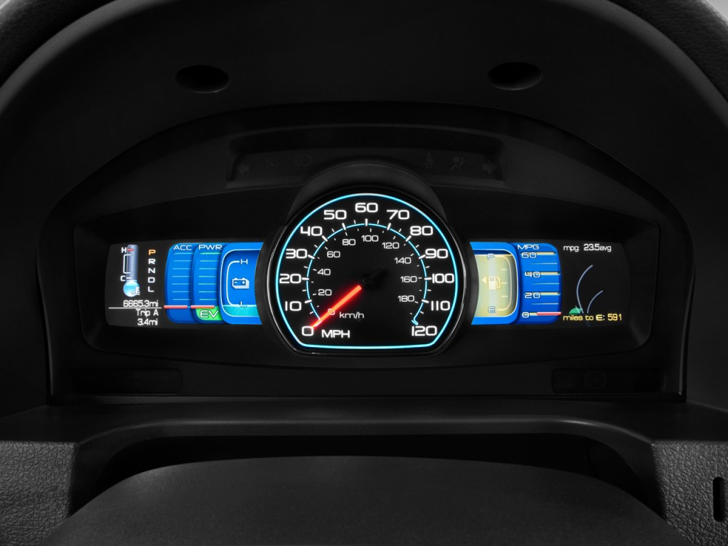 2014 Ford Fusion Tires >> Image: 2011 Ford Fusion 4-door Sedan Hybrid FWD Instrument Cluster, size: 1024 x 768, type: gif ...