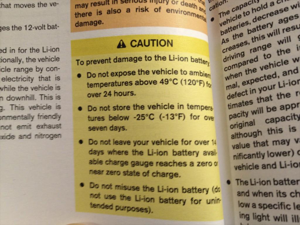 2011 NIssan Leaf Battery Warranty Information