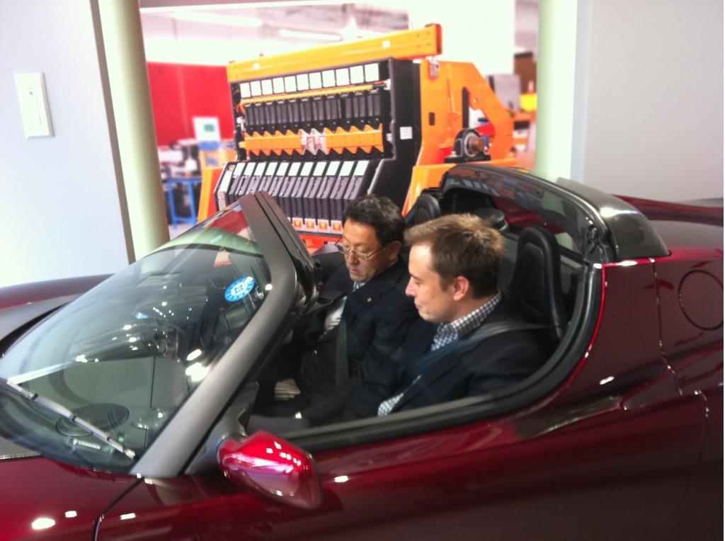 Elon Musk Shows Akio Toyoda 2011 Tesla Roadster Sport 2.5