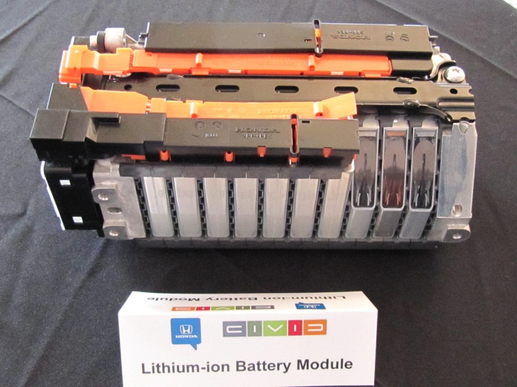 Image: 2012 Honda Civic Hybrid - cutaway of lithium-ion ...