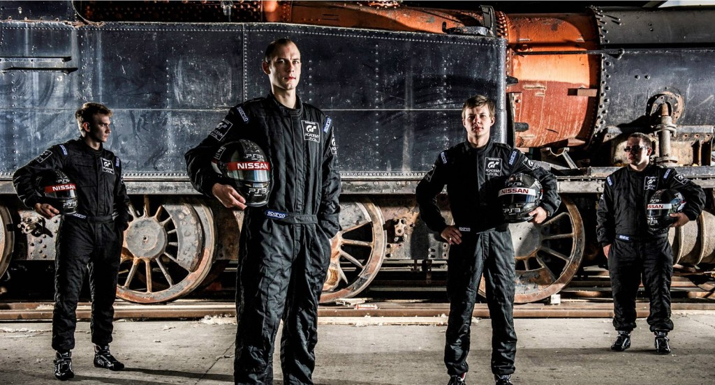 2012 Nissan GT Academy winners representing Europe, USA, Germany and Russia