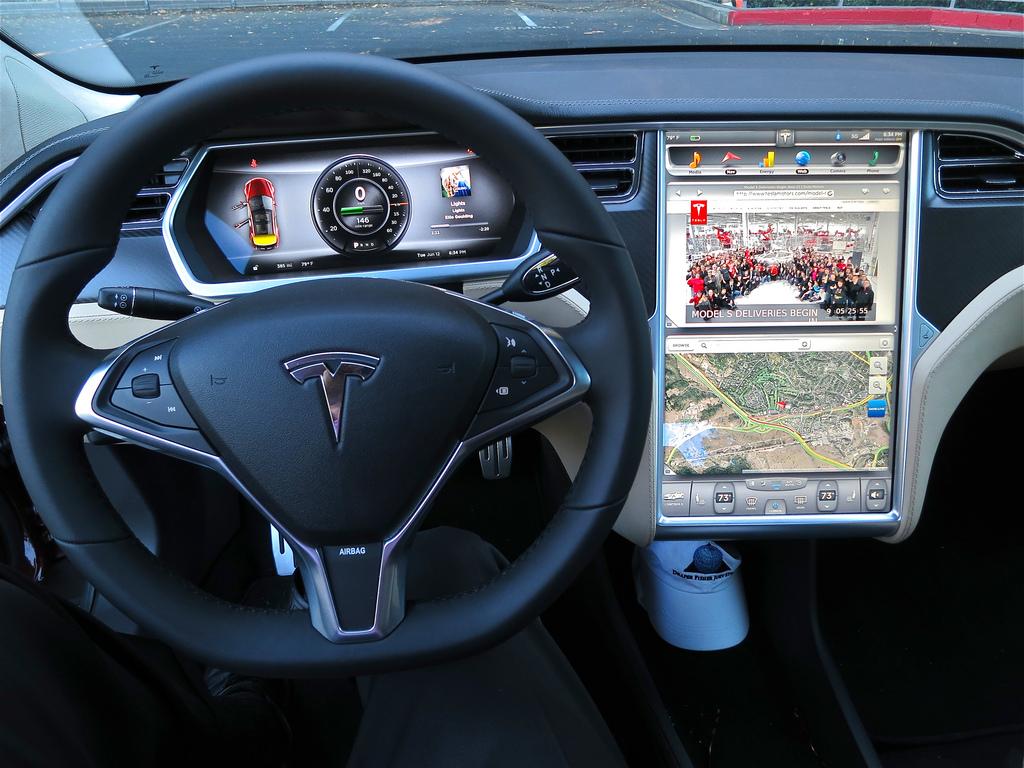 2012 Tesla Model S display screen [Photo: Flickr user jurvetson]