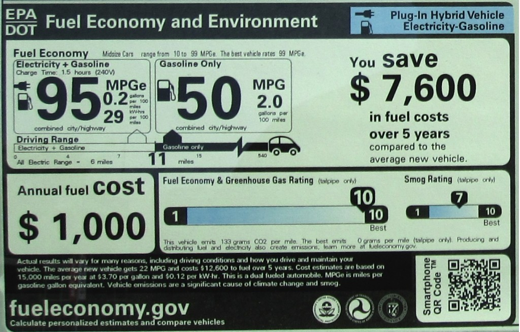 2012 Toyota Prius PlugIn Parsing The EPA Efficiency Sticker