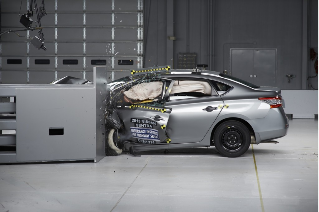 2013 Nissan Sentra  -  POOR rating in IIHS small overlap frontal test
