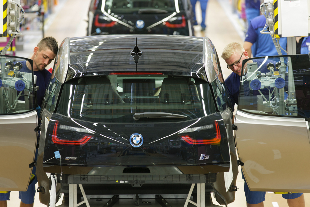 2014 BMW i3 electric cars on the assembly line in Leipzig, Germany