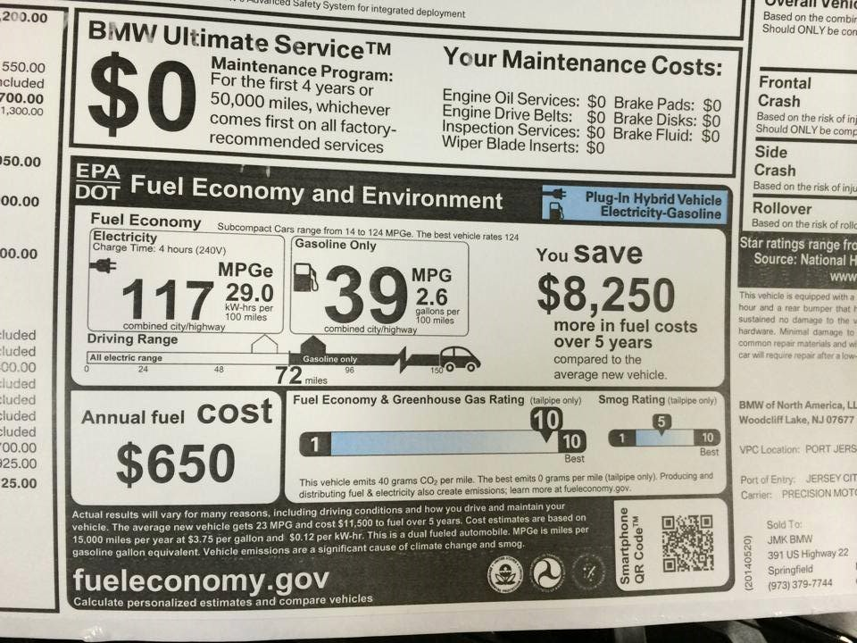 2014 Bmw I3 Rex Window Sticker Revealed 39 Mpg On