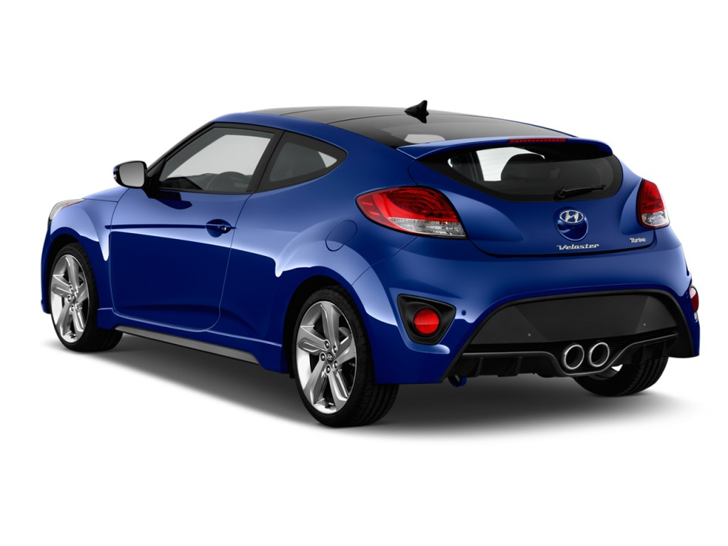 image 2014 hyundai veloster 3dr coupe auto turbo w black int angular rear exterior view size. Black Bedroom Furniture Sets. Home Design Ideas