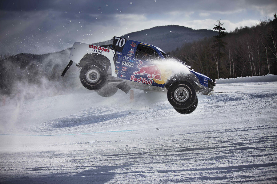 Watch 900-HP Trucks Bomb Down A Snow-Covered Mountain: Video