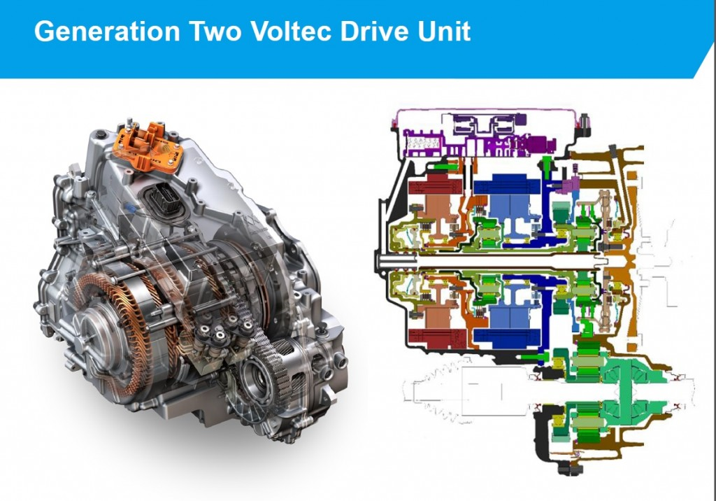 2016 chevrolet volt plug-in hybrid - details of voltec drivetrain from sae  presentations,