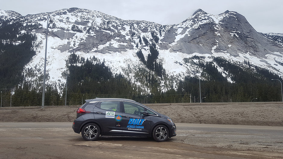 2017 Chevrolet Bolt EV electric car on Coquilhalla Highway, BC, Canada, May 2017 [Boyd/Hetherington]