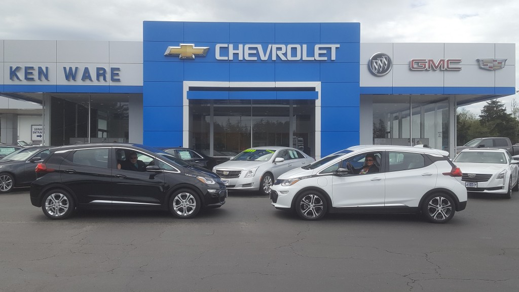 2017 Chevrolet Bolt EV electric cars outside dealership    [photo: Patrick Reid]