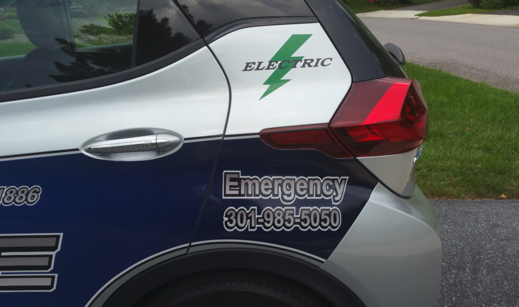 2017 Chevrolet Bolt EV electric police car, operated by Hyattsville City Police Department, Maryland