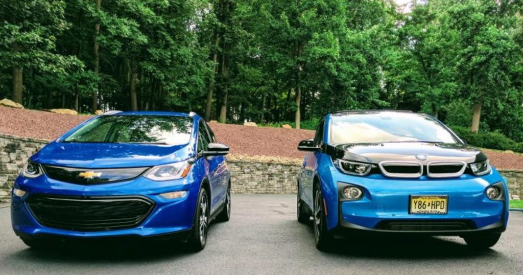 2017 Chevrolet Bolt EV Premier and 2017 BMW i3 electric car, Aug 2017        [photo: Tom Moloughney]