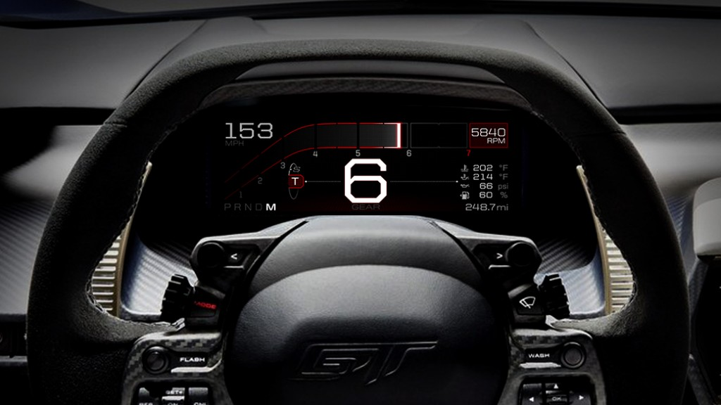Ford GT instrument cluster Track mode