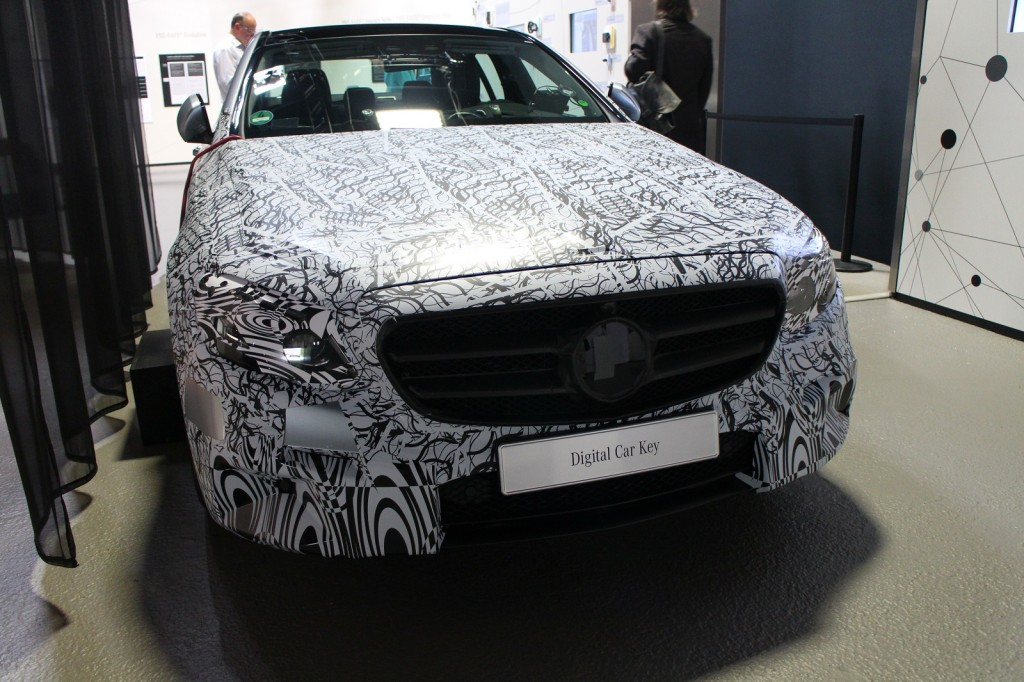 2017 Mercedes-Benz E-Class in camouflage, Tech Day presentation, Germany, Jul 2015