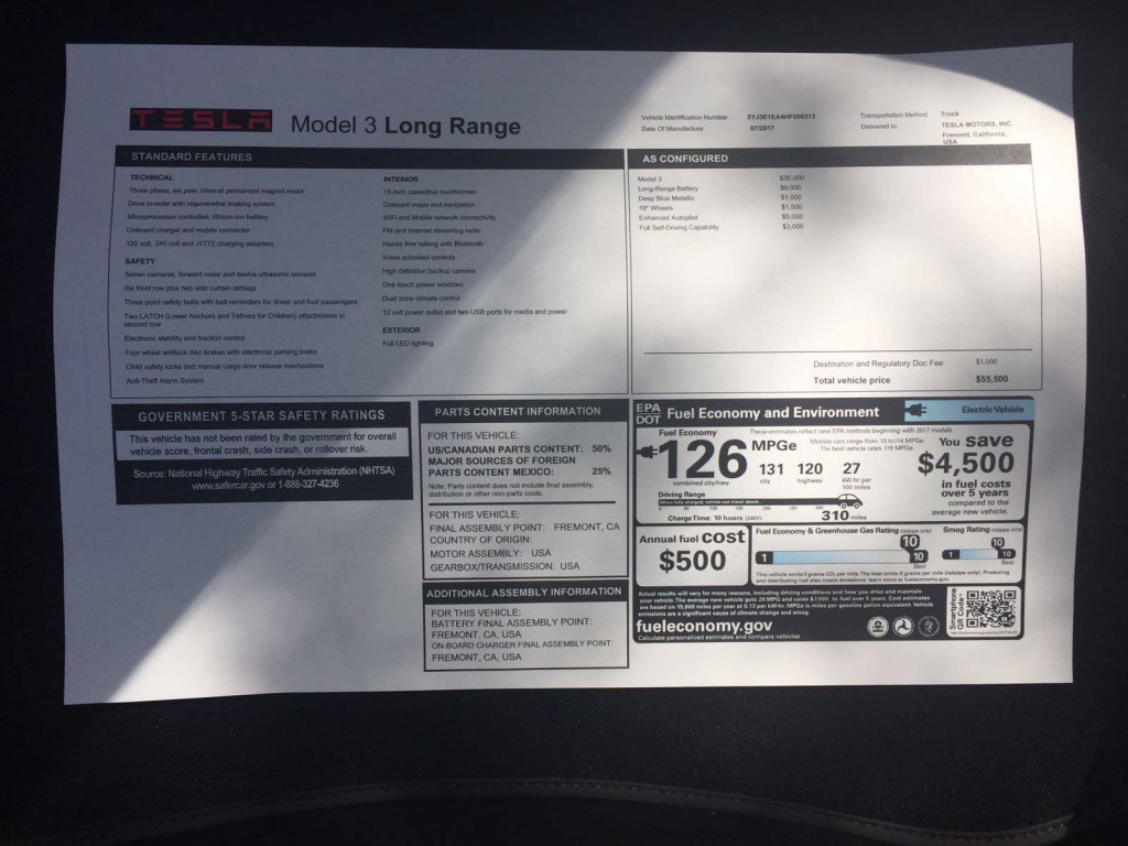 2017 Tesla Model 3 Long Range window sticker  [photo: PaulRocket on Tesla Motors Club]