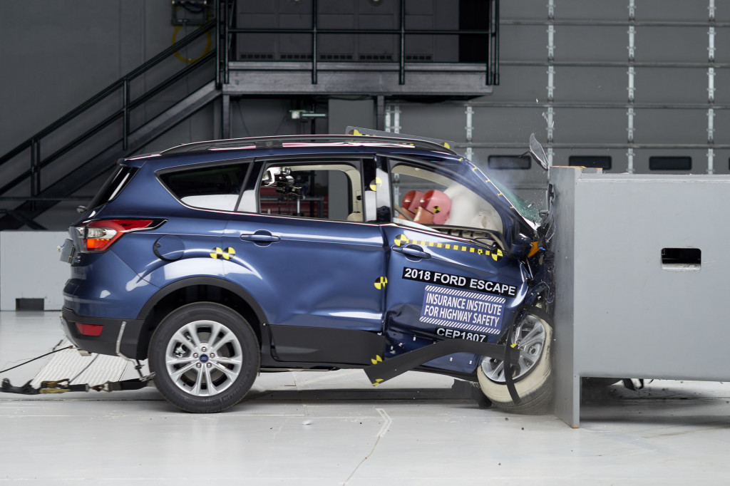 2018 Ford Escape in IIHS small-overlap crash test